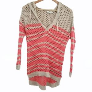 American Eagle Open Knit Hooded Sweater Size S